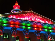 Colorful Photography Pyrography Prints - Holiday Lights 2012 Denver City and County Building L1 Print by Feile Case