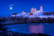 Cape Neddick Lighthouse Prints - Holiday Moon Print by Michael Blanchette