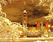 Winter Night Mixed Media Posters - Holiday Ottawa - Parliament and Peace Tower Night Lights Poster by Alex Khomoutov