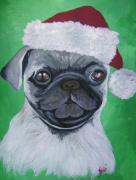 Dog Greeting Cards Prints - Holiday Pug Print by Leslie Manley
