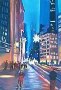 City Life Pastels Posters - Holiday Season in NYC Poster by Frank Giordano