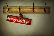 Wooden Prints - Holiday sign on antique plaster wall Print by Sandra Cunningham