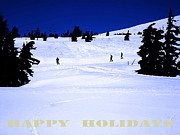 New England Snow Scene Digital Art Posters - Holiday Skiers At Mt Hood  Oregon Poster by Glenna McRae