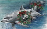 Dolphin Art Print Posters - Holiday Smile Poster by Joy DiNardo Bradley         DiNardo Designs                     