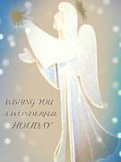Gold Angel Card Posters - Holiday Wish Card Poster by Debra     Vatalaro