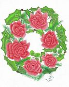 Greenery Drawings - Holiday Wreath by Dusty Reed