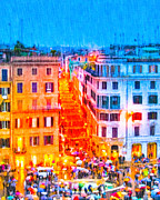 European City Digital Art - Holidays In Rome - Base Of The Spanish Steps by Mark E Tisdale