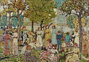 Foliage Paintings - Holidays by Maurice Brazil Prendergast
