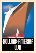 Vintage Typography Digital Art Metal Prints - Holland America Metal Print by Gary Grayson