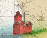 Map Art Painting Posters - Holland Harbo Lighthouse MI Nautical Chart Map Art Poster by Cathy Peek