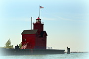 West Michigan Posters - Holland Harbor Light Vignette Poster by Michelle Calkins