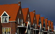 Red Roofs Framed Prints - Holland Row Of Roof Tops Framed Print by Bob Christopher