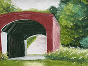 Madison Pastels Framed Prints - Holliwell Bridge of Madison County Framed Print by Flo Hayes