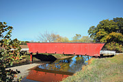Iowa Greeting Cards Posters - Holliwell Covered Bridge Poster by Joenne Hartley