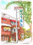 Cards Vintage Painting Prints - Holloway Motel in West Hollywood - California Print by Carlos G Groppa