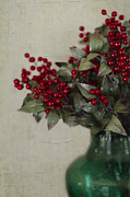 Holly Posters - Holly Berries in Green Vase Poster by Rebecca Cozart