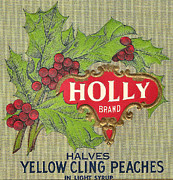 Peaches Digital Art Prints - Holly Brand Yellow Cling Peaches Print by Studio Art