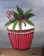 Navidad Paintings - Holly Cupcake by Astrid Rosemergy