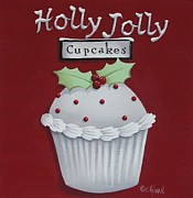 Cupcake Art Posters - Holly Jolly Cupcakes Poster by Catherine Holman