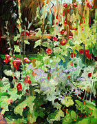 Hollyhocks Prints - Hollyhock Sundance Print by Marie Massey