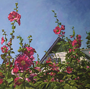 Hollyhocks At Green Gables Print by Christine Montague
