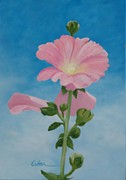 Diane Cutter Paintings - Hollyhocks by Diane Cutter