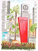 Vine Painting Originals - Hollywood and Vine Metro Station in Hollywood-California by Carlos G Groppa