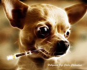 Smoking Cigarette Prints - Hollywood Fifi Chika Chihuahua - Electric Art - With Text Print by Wingsdomain Art and Photography