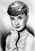 Star Drawings Posters - Hollywood Greats Hepburn Poster by Andrew Read