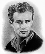Hollywood Drawings - Hollywood greats James Dean by Andrew Read