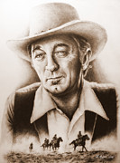 Sepia Drawings Framed Prints - Hollywood Greats Mitchum Framed Print by Andrew Read