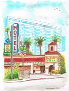 Motel Painting Prints - Hollywood-La-Brea-Motel-and-Raffallo-Pizza-Hollywood-CA Print by Carlos G Groppa