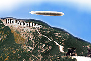 Hollywoodland Prints - Hollywood Sign and Blimp Print by Tony Rubino