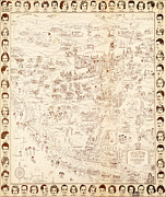 Vintage Map Paintings - Hollywood Star Map Golden Age Celebrities 1937 by MotionAge Art and Design - Ahmet Asar