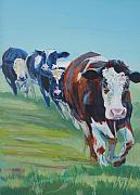Mike Jory Cow Posters - Holstein Friesian Cows Poster by Mike Jory