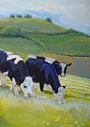 Mike Jory Cow Posters - Holstein Friesian Cows Painting Poster by Mike Jory
