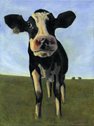 One Animal Painting Posters - Holy Cow Poster by Dana Feagin