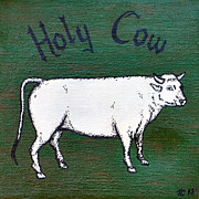 Steer Paintings - Holy Cow by Terra C