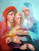 Jesus Art Painting Framed Prints - Holy Family Framed Print by Filip Mihail