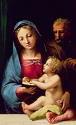 Cushions Painting Framed Prints - Holy Family Framed Print by Giulio Romano