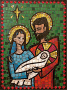 Religious Mosaic Mixed Media Prints - Holy Family II Print by Julie Mazzoni