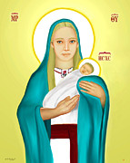 Mother Mary Digital Art - Holy Mother Of God And Baby Jesus  Icon by Zeljko Bilandzic
