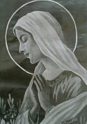 Orthodox Drawings Prints - Holy Mother Print by Subhash Mathew