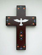 Religious Tapestries - Textiles Originals - Holy Spirit Wall Cross by Theresa McFarlane Stites