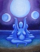 Sea Moon Full Moon Paintings - Holy Trinity  by Carol Brown