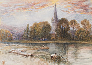 Riverbed Paintings - Holy Trinity Church on the banks if the River Avon Stratford upon Avon by Myles Birket Foster