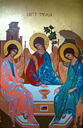 Orthodox Painting Framed Prints - Holy Trinity Framed Print by Janeta Todorova
