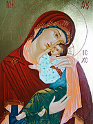 Orthodox Drawings Prints - Holy Virgin Of Tenderness Print by Janeta Todorova