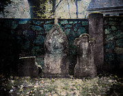 Creepy Digital Art Metal Prints - Holyhood Cemetery Stones Metal Print by Sonja Quintero