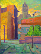 Alleyway Paintings - Holyoke Sunset by Caleb Colon